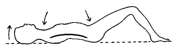 Person lying on ground breathing in
